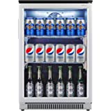 Weili Beverage Refrigerator and Cooler, 20 Inches Wide Beer Soda Fridge with Stainless Steel & Glass Door for Home Office Bar