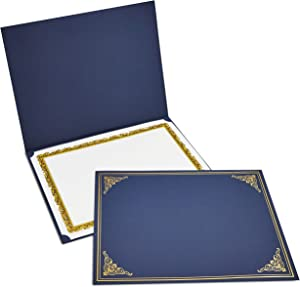 12-Pack Certificate Holder - Diploma Cover, Document Cover for Letter-Sized Award Certificates, Navy Blue, Gold Foil, 11.2 x 8.8 Inches