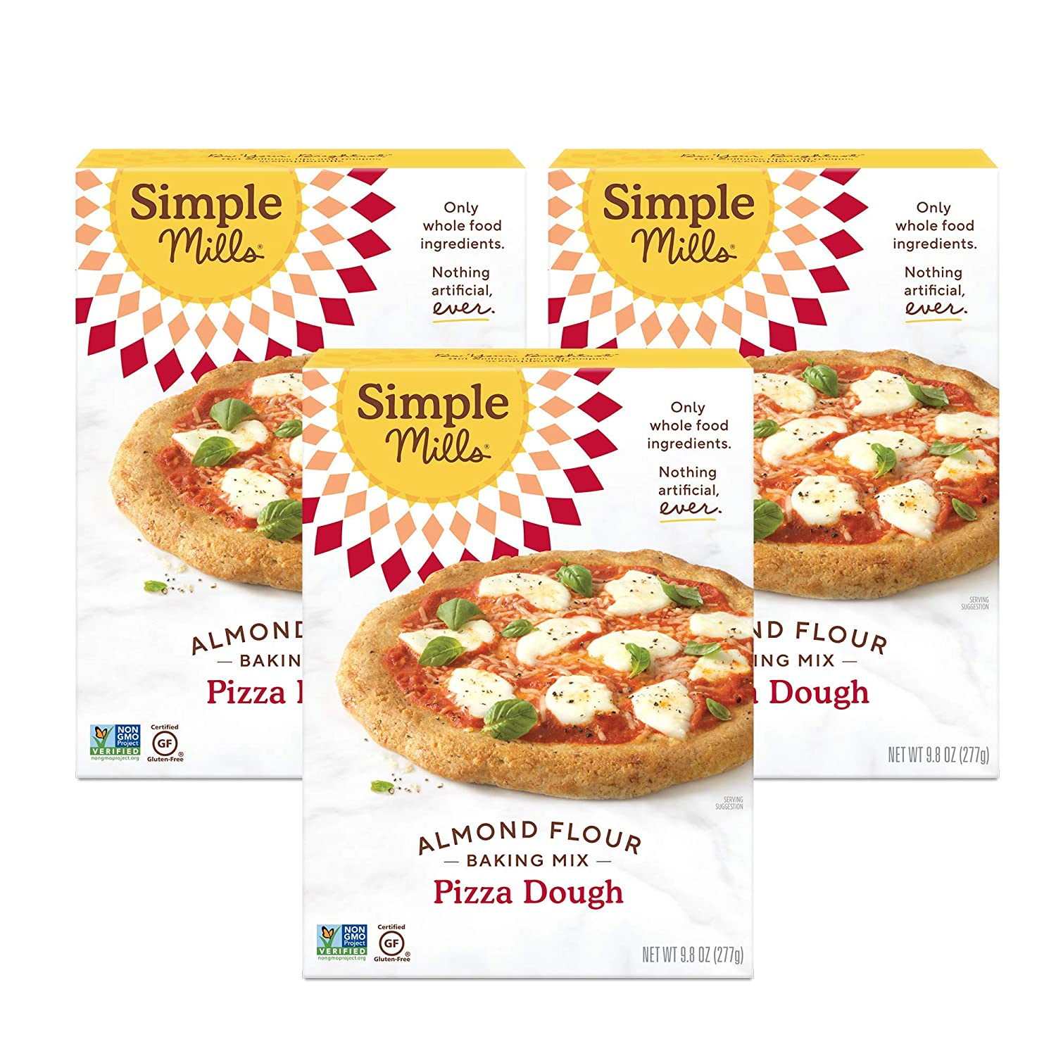 Simple Mills Almond Flour Mix, Pizza Dough, 9.8 Ounce (Pack of 3) (PACKAGING MAY VARY)