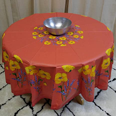 French Provencal Tablecloth Acrylic Coated 100% Cotton (71u0026quot; Round,  Salmon Peach Poppy