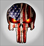 Punisher with American Flag and Glowing Eyes sticker / decal