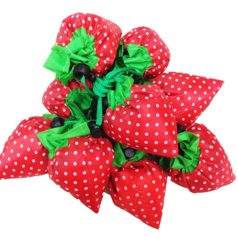 DGQストロベリー再利用可能な食料品バッグAssortedカラーショッピングエコバッグ(マルチカラー、20個パック) B0119472XI
