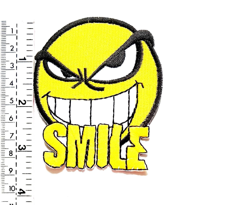 Parche bordado con el logotipo de la cara feliz de la sonrisa ...