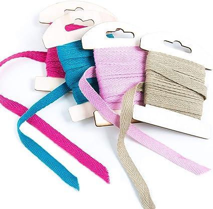 Logbuch-Verlag - Bandas de algodón (incluye set: color rosa, turquesa, rosa y marrón), color 4 unidades: Amazon.es: Oficina y papelería