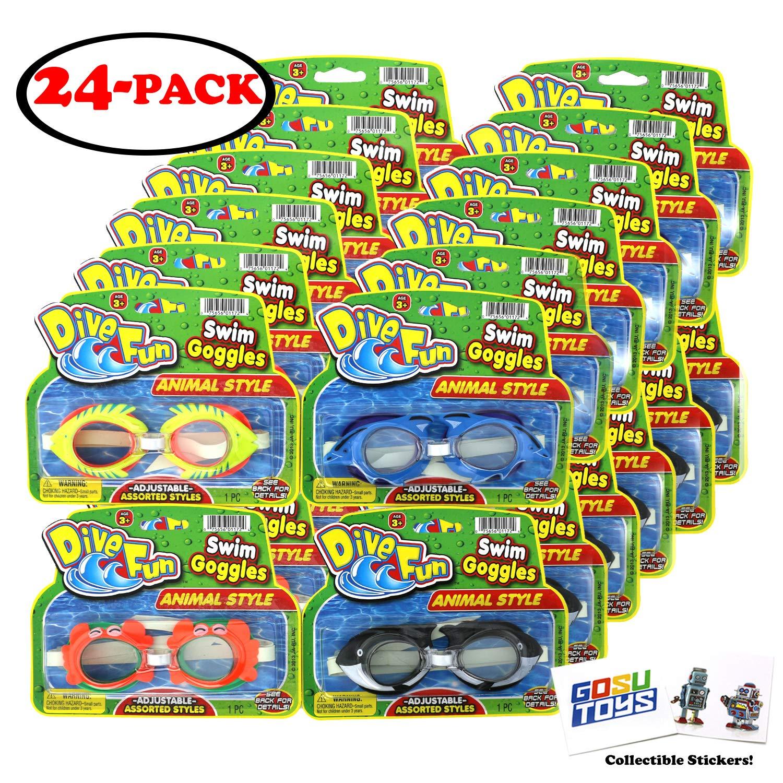 アニマル水泳ゴーグル 24個セット ダイブファン イルカ (ブルー) 魚 (イエロー) カニ (オレンジ) キラーホエール (ブラック) プールゴーグル サマービーチゴーグル 子供用 GosuToysステッカー付き   B07PKSSFYF
