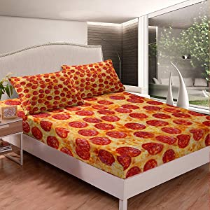 Pizza Fitted Sheet Pepperoni Be Print Bedding Set Funny Fast Food Bed Sheet Set for Boys Girls Kids Room Decor Lightweight Delicious Food Theme Bed Cover Twin Size with 1 Pillow Case