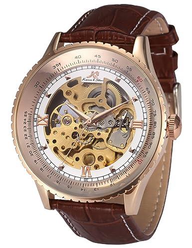 KS KS113 - Relojes de Pulsera Hombre, Esqueleto mecánico automático reloje con Correa de Cuero marrón: Amazon.es: Relojes