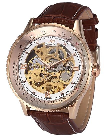 KS KS113 - Relojes de pulsera hombre, esqueleto mecánico automático reloje con correa de cuero