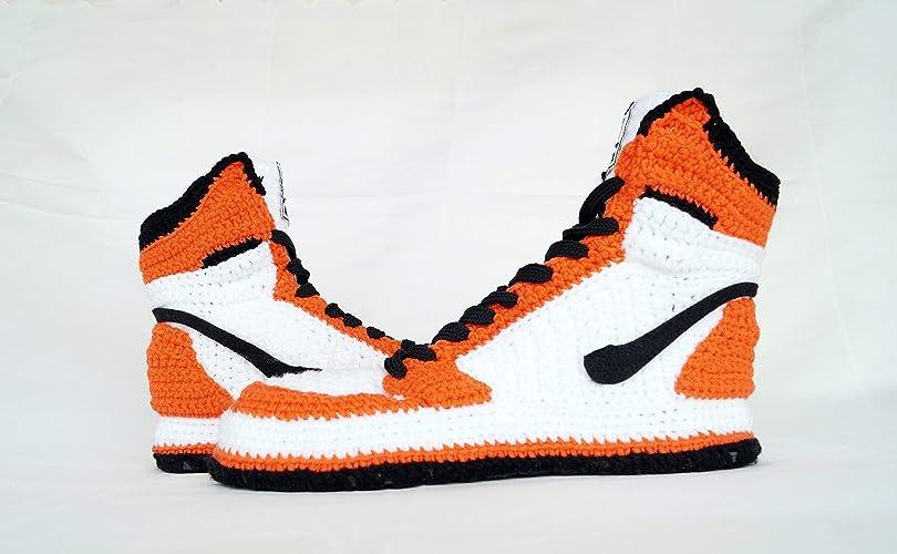 watch f1b61 2ddc5 Amazon.com  Crochet Style Air Jordan 1 Retro High Orange Crochet Style  Slippers, Air Jordan 1 Retro High OG Men s And Women s Basketball Shoes   Handmade
