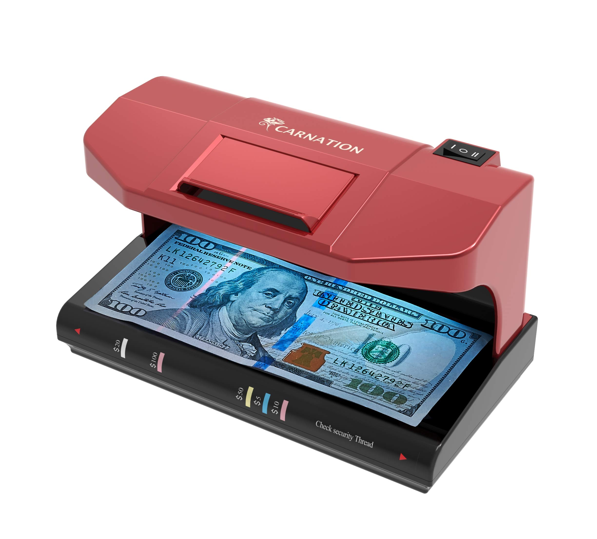 Counterfeit Bill Money Detector Checker with Magnetic and UV Detection + Free Counterfeit Detection Pen by Carnation
