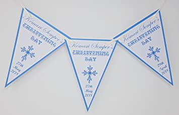 J&R Boutique Personalised Christening Blue & Pink Bunting Banner Decoration  Cross Design (Blue)