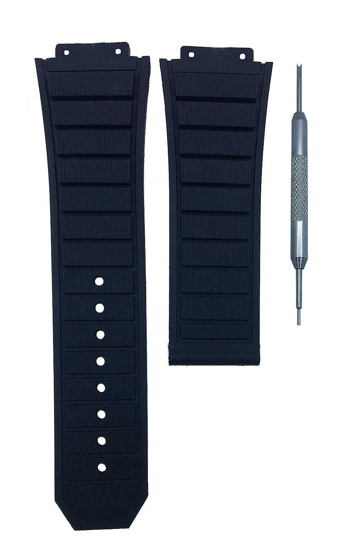 19 x 29 mmブラックゴム時計バンド交換用ストラップfor f1 King Power |フリースプリングバーツール B07CG935GZ