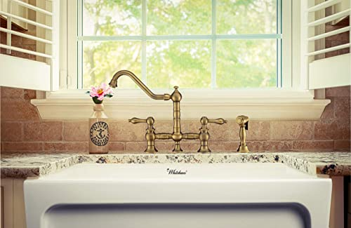 Whitehaus Collection WHKBTLV3-9201-NT-AB Vintage III Plus Bridge Faucet with Long Traditional Swivel Spout, Lever Handles and Solid Side Spray, One Size, Antique Brass