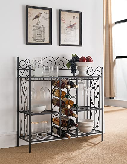 Amazoncom Kings Brand Furniture Metal Console Table Wine Rack