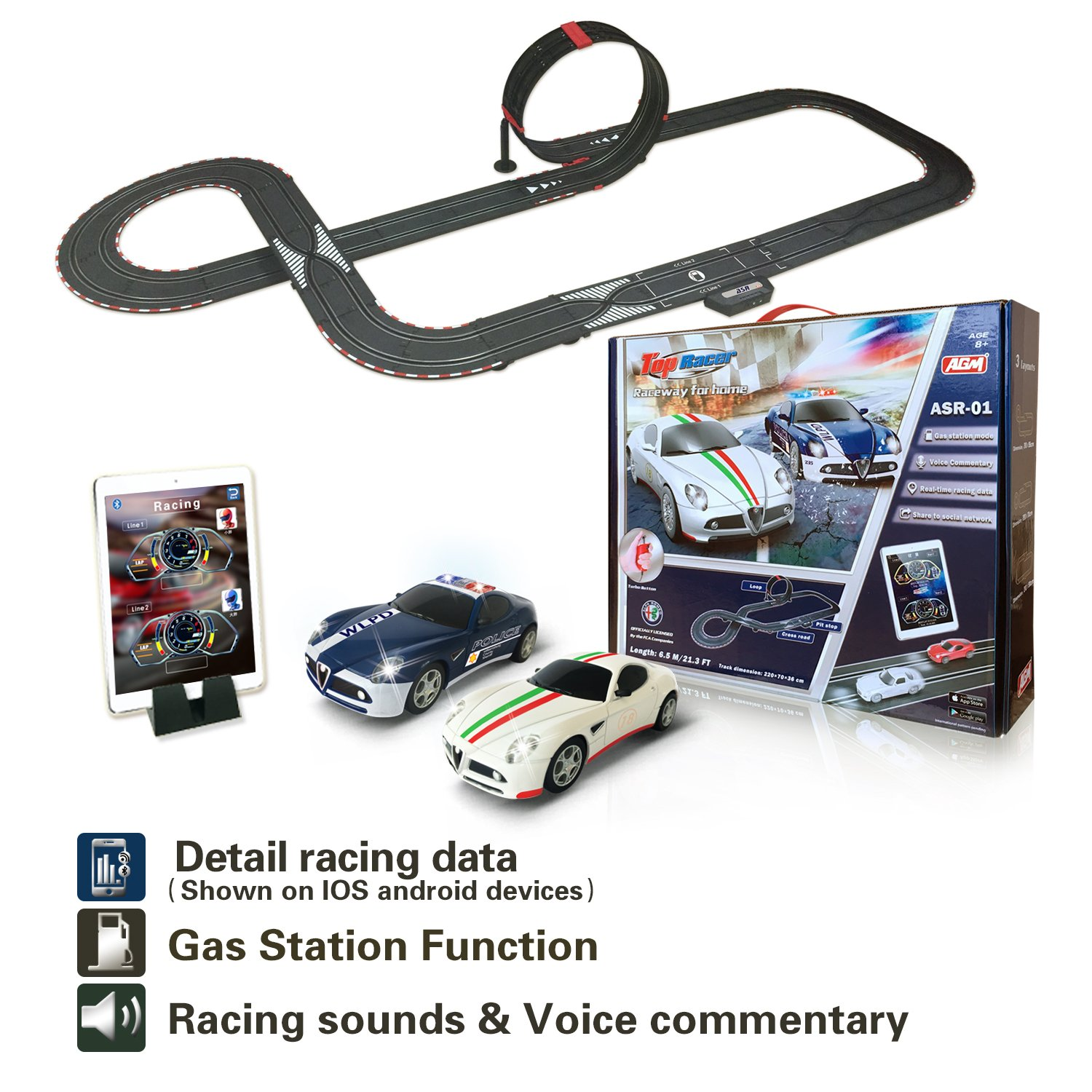 AGM slot car set with racing assistant APP No.ASR-01 1:43 scale