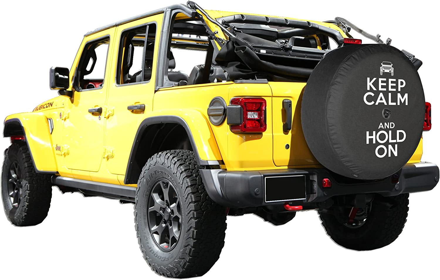Boomerang - Keep Calm Hold On - Sport /& Sahara with Back-up Camera 2018-2020 32 Soft JL Tire Cover for Jeep Wrangler JL