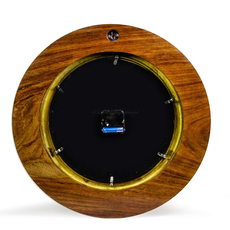 Nagina International Nautical Time Tide Clock On Premium Wooden Base – Polished Brass Porthole Wall Hanging Decor 10 Inches