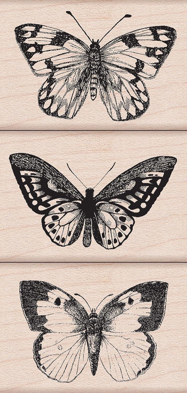 Hero Arts Woodblock Stamp, Set Three Artistic Butterflies Inc. LP215