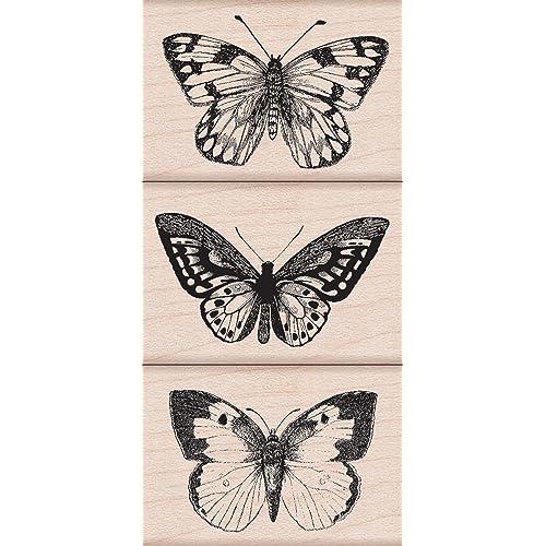 Hero Arts Woodblock Stamp Set Three Artistic Butterflies