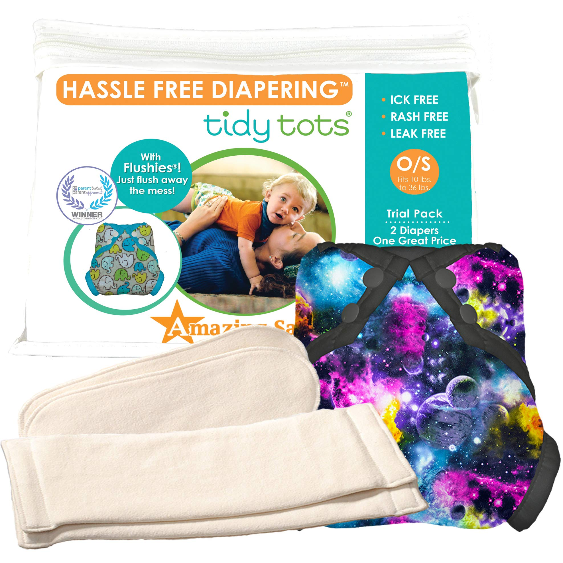 Tidy Tots Diapers Hassle Free 2 Diaper Trial Set (Black Galaxy)