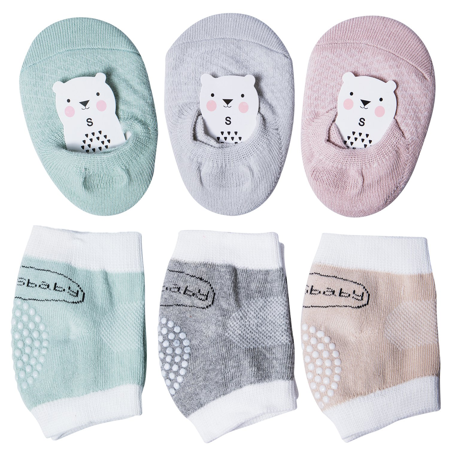 bc3578f5bf PACKAGE - One pack contains 3 Pairs Baby Knee Pads and 3 Pairs Grip Socks,  so you will get 6 Pairs in total. The perfect combination of kneepads and  socks ...