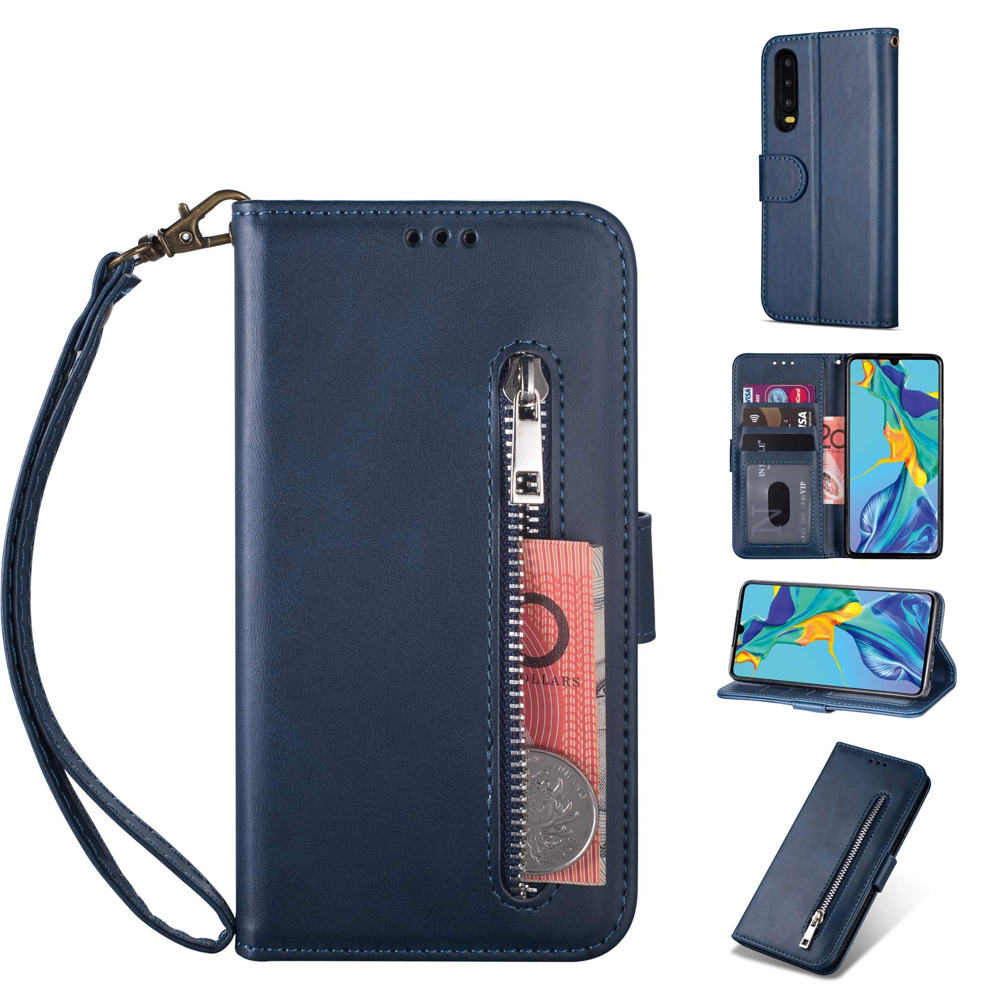 Zipper Wallet Case with Black Dual-use Pen for Huawei P30,Aoucase Money Coin Pocket Card Holder Shock Resistant Strap Purse PU Leather Case for Huawei P30 - Dark Blue