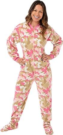 Big Feet Pajama Co. Pijamas pijamas Footed adulto forro Micro-Polar de camuflaje