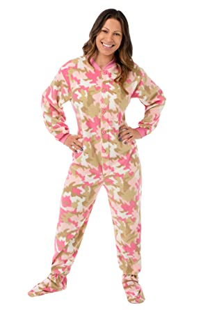 2f3434a826 Pink Camouflage Fleece Women s Footed Onesie Pajamas with Drop Seat ...