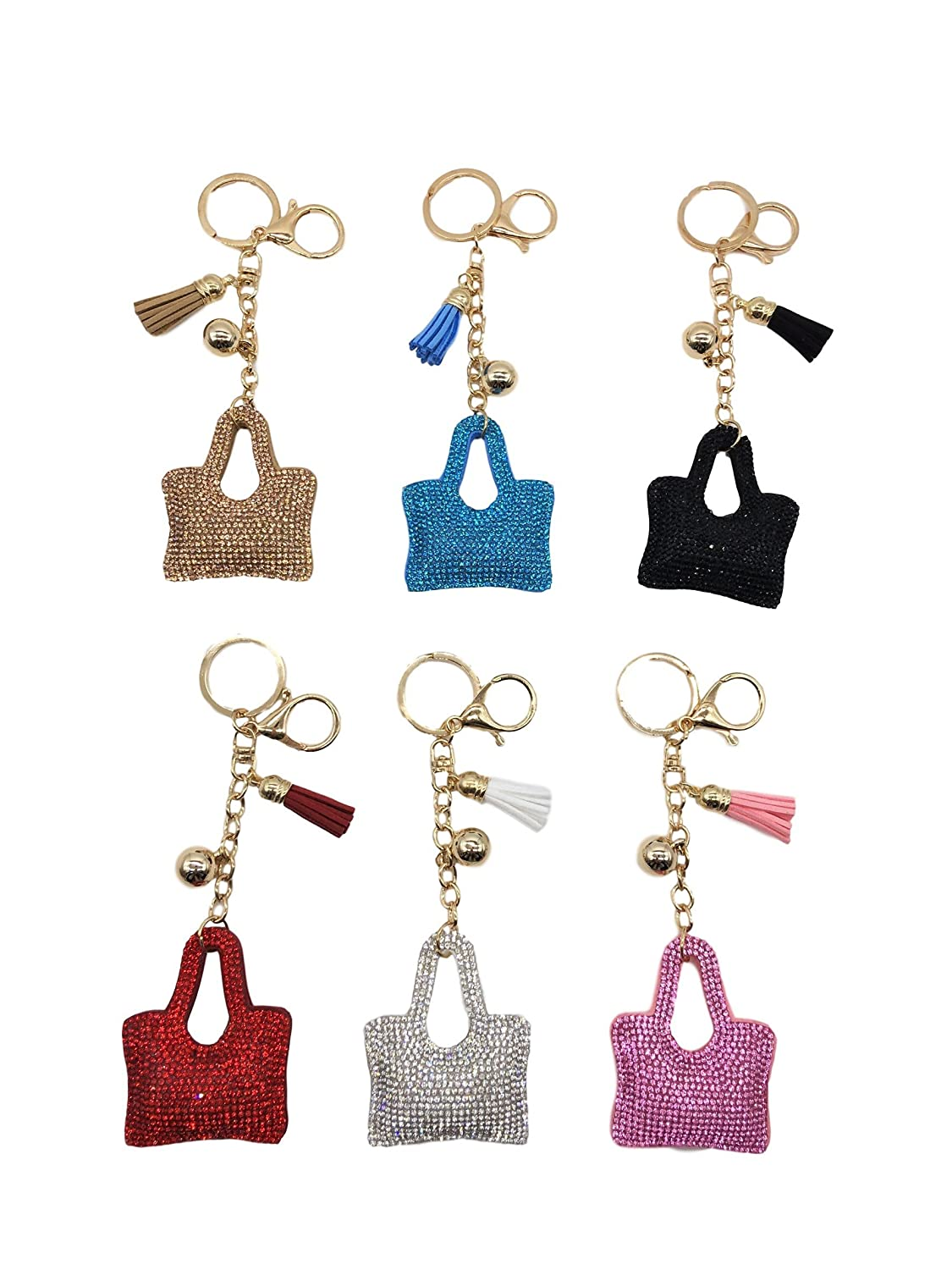 Kelly's Key Rhinestone Chain Pendant Bag Ring Crystal Charm Purse Keyring Keychain Gift Car Cute Handbag (6 Pack )