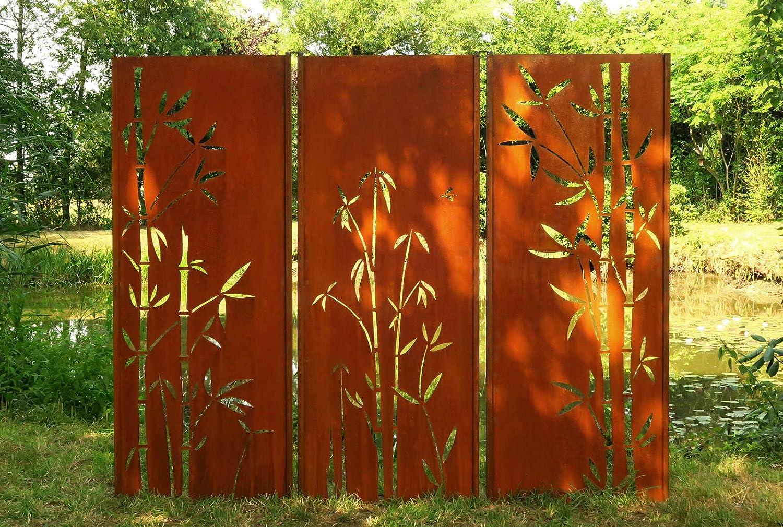 Gartenwand Sichtschutz Bambus 1 Rost Stahl 75x195 Cm