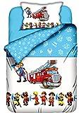 Aminata-Kids süße Kinderbettwäsche Bettwäsche Kinder 100x135 cm Baumwolle Feuerwehrauto Feuerwehrmann Feuerwehr Baumwolle Babybettwäsche-Feuerwehrmann Wendebettwäsche hellblau Feuerwehrmänner
