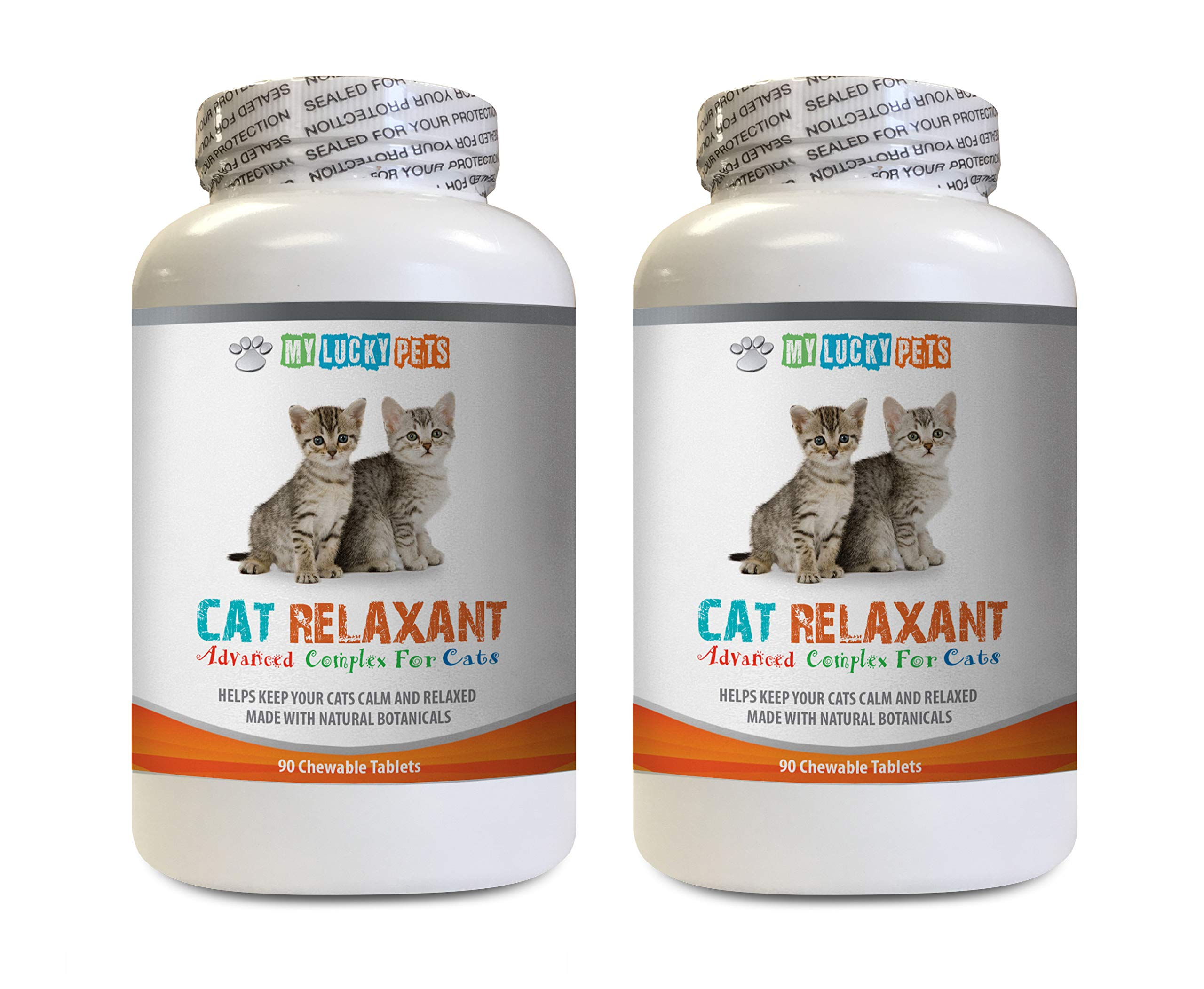 MY LUCKY PETS LLC cat Stress and Anxiety Relief - Advanced Relaxant for Cats - Calms Down Your CAT - Anxiety Relief Complex - Chamomile for Cats - 2 Bottles (180 Chewable Tablets)