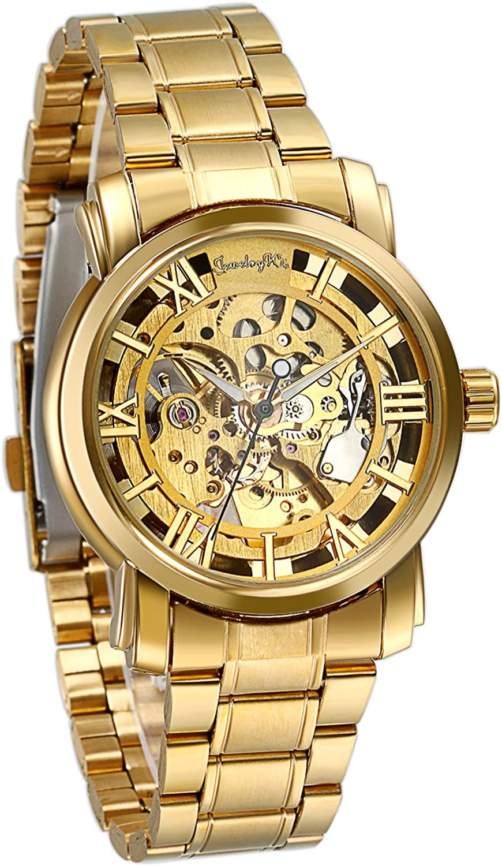 Regalo de papá Día del Padre JewelryWe Reloj Dorado de Esfera Transparente, Reloj de Caballero mecánico, Bonito diseño único, Relojes de Hombre
