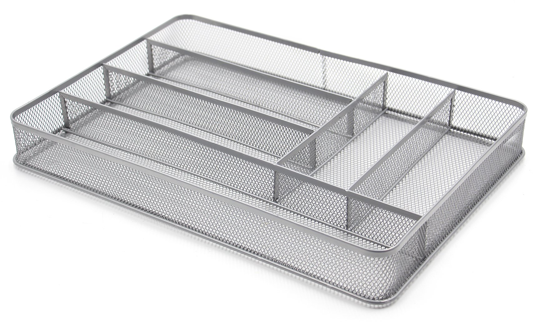 ESYLIFE Large Cutlery Storage Flatware Tray, 6 Compartments, Silver by Esy-Life (Image #1)