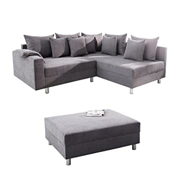 Invicta Interior Design Ecksofa Loft Grau Soft Baumwolle Mit Hocker