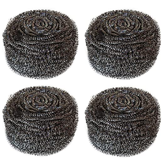 Hulless (Set of 4) Stainless Steel Sponges Scrubbers, Utensil Scrubber, Metal Scouring Pads, Stainless Steel Scourer Pot Brush, Kitchen Cooking Utensil Cleaning Tools, 60g/pcs.