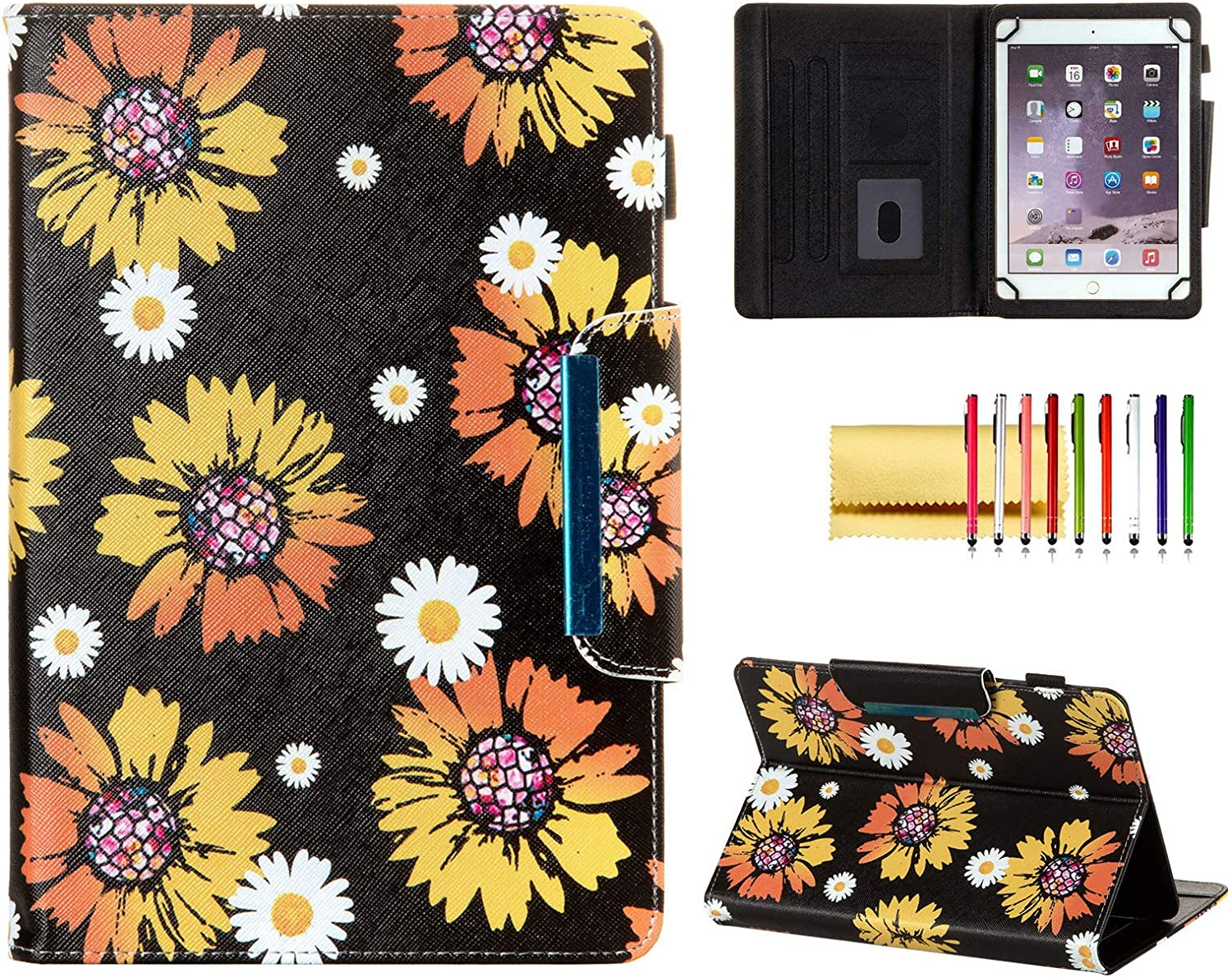 Universal Case for 8 Inch Tablet, Techcircle Light Stand Folio Magnetic Cover Case for Asus ZenPad 8 Z8s, LG G Pad X 2 3 4 F 8.0 8.3, iPad Mini, Fire HD 8 & Most 8.0 Tablet Computers, Sunflowers