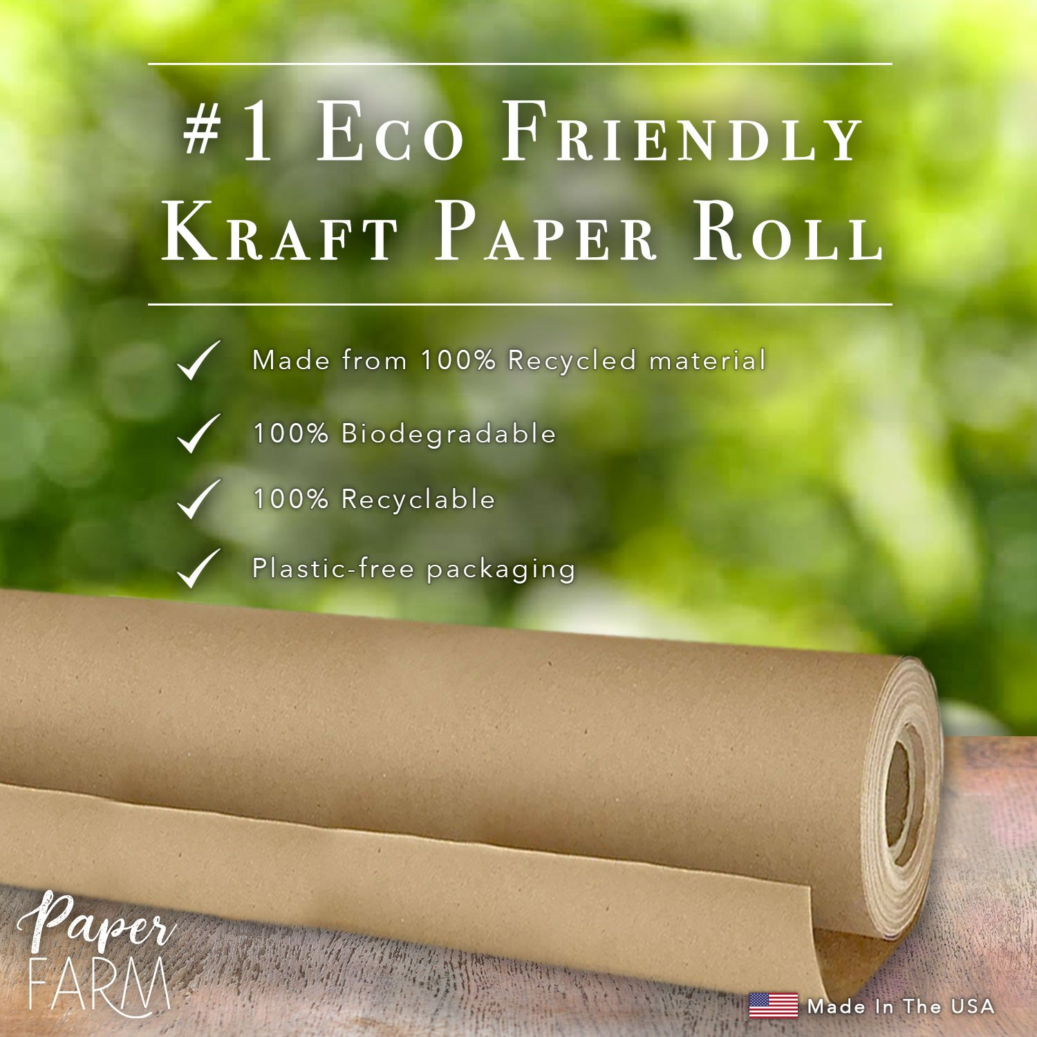 """1 eco kraft wrapping paper roll large 30"""" x 1200"""