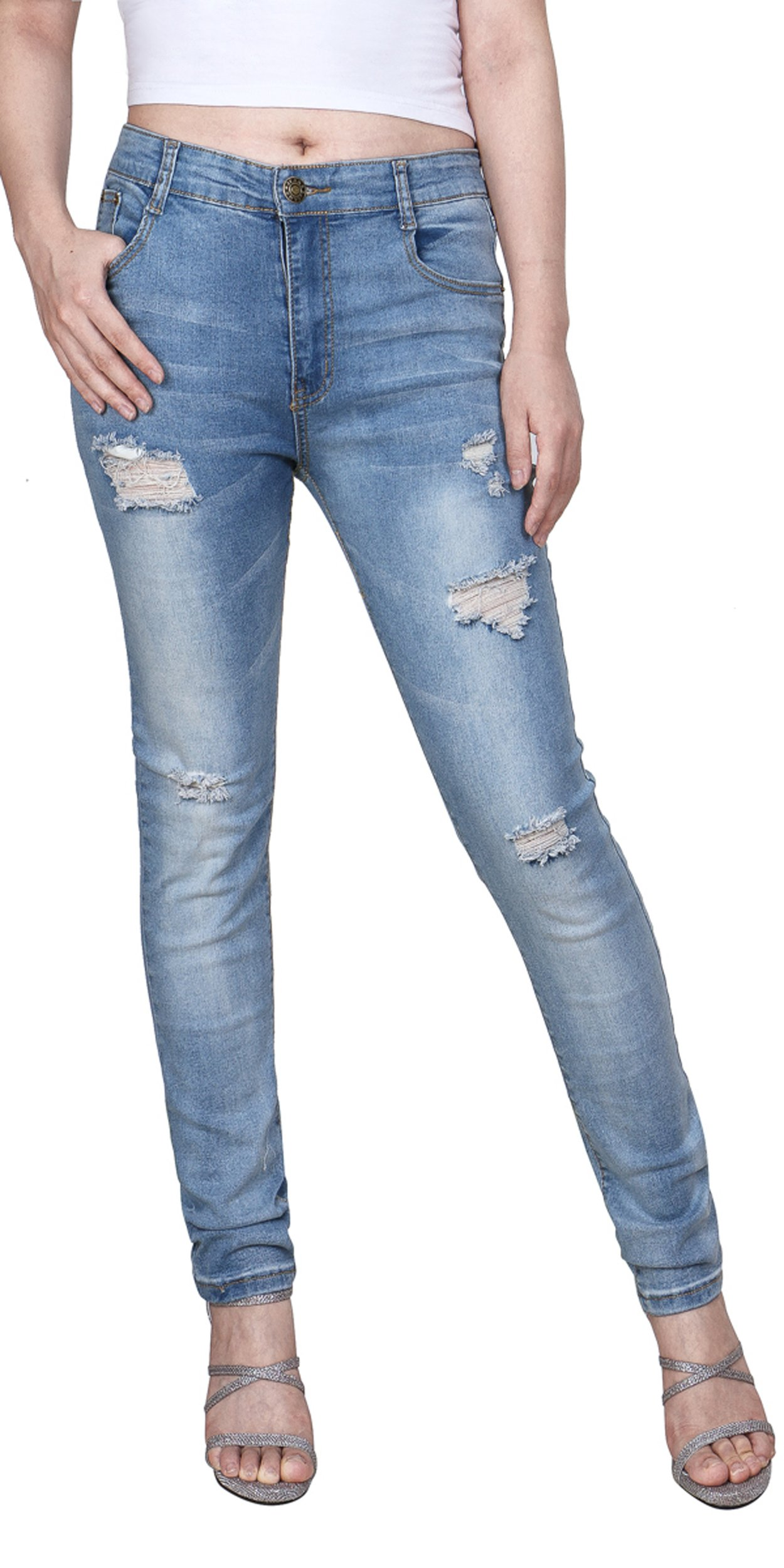 Women's Casual Ripped Holes Skinny Jeans Jeggings Straight Fit Denim Pants (US 12, Blue 8)