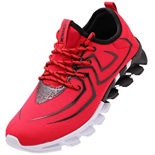 BRONAX Tennis Shoes for Men Comfortable Slip on Gym Sport Fitness Workout Athletic Sneakers Zapatos de Hombre Red Size 9.5