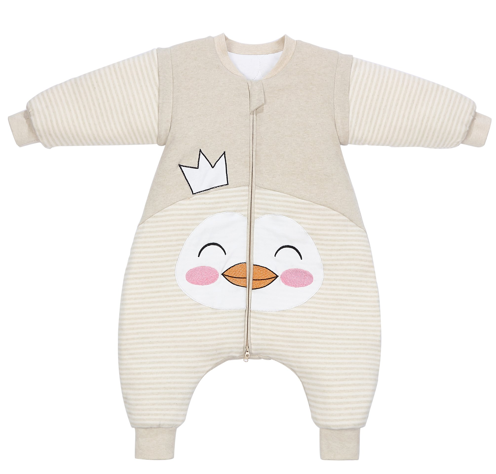 PEACE MONKEY Toddler Sleep Sack Cotton Detachable Sleeve Wearable Blanket Winter Baby Pajamas (L, Crown) by PEACE MONKEY