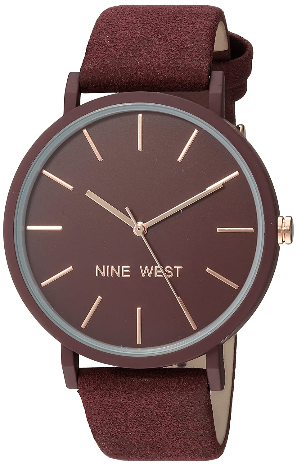 35abccf00f0 Amazon.com  Nine West Women s NW 2066BYRG Burgundy Faux Suede Strap Watch   Watches