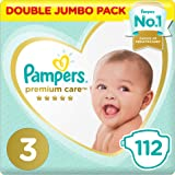 Pampers Premium Care Pants Diapers, Size 3, Midi, 6-11 kg, Double Jumbo Pack, 112 Count