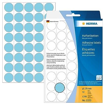 rund Herma 2252 Vielzweck Etiketten farbig rot Ø 19 mm 1.280...