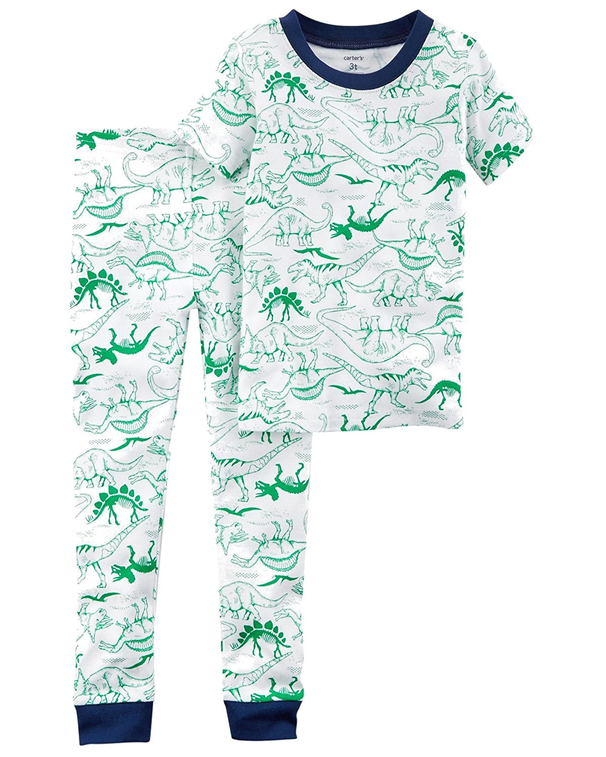 Carters Baby Toddler and Little Boys 4 Pc Short Sleeve Cotton Pajamas (5T, Green Dino and Blue Construction Trucks)