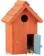 Relaxdays Caja Nido en Forma de Casa, Madera, Azul o Naranja, 24.3 x