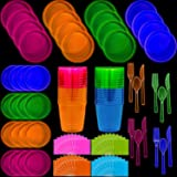 Neon Disposable Party Supplies Set, 16 Guest - 2 Size Plates, Tumbler Cups, Napkins, Cutlery Glows Under Black Light or UV - Pink, Green, Blue, Orange for Birthday, Clubs, 80s Festivals, and More