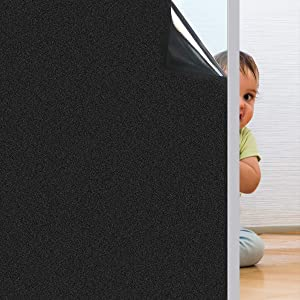Coavas Blackout Window Film No Glue 100% Light Blocking for Day Sleep, Privacy Static Cling for Home Security and Aquarium, Frosted Black 35.6 x 118 Inches