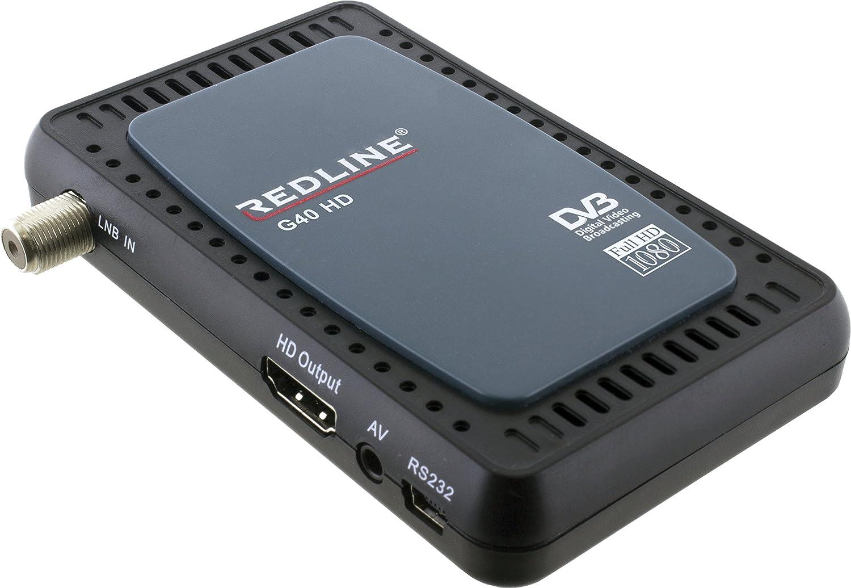 REDLINE G40 HD - Mini Receptor de TV por satélite (HD, WiFi) Color Negro