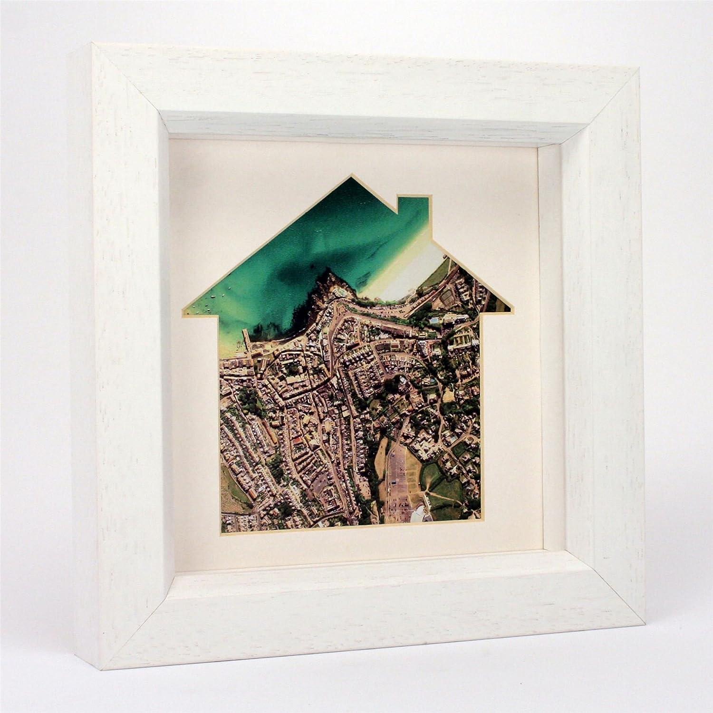 Nuestro hogar mapa enmarcado (fotografía aérea (Inglaterra y Gales solamente), casetas de playa marco de madera blanca) - regalo: Amazon.es: Hogar
